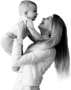Mom with child happy after pelvic floor therapy